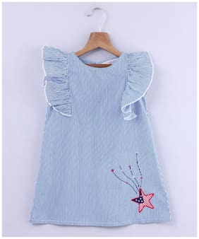 Beebay Baby girl Cotton Striped Princess frock - Blue