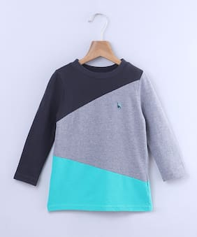 Beebay Cotton blend Colorblocked T shirt for Baby Boy - Multi