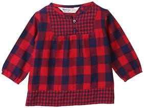 Beebay Cotton Checked Top for Baby Girl - Maroon