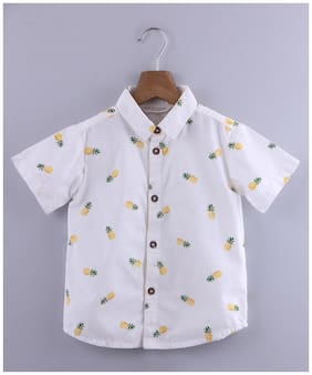 Beebay Cotton Printed Shirt for Baby Boy - White