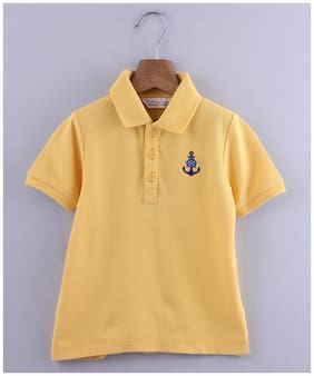 Beebay Cotton Solid T shirt for Baby Boy - Yellow