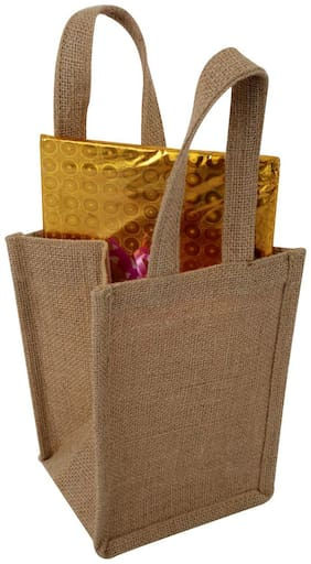 Beige Solid Pattern Jute Lunch Bags 13.7 cm (5.5 inch) X 13.7 cm (5.5 inch) X 20.32 (8 Inches) Laminated Soild Dyed Gift Bag Pack of 1 PC Taffin Bag By Rajrang