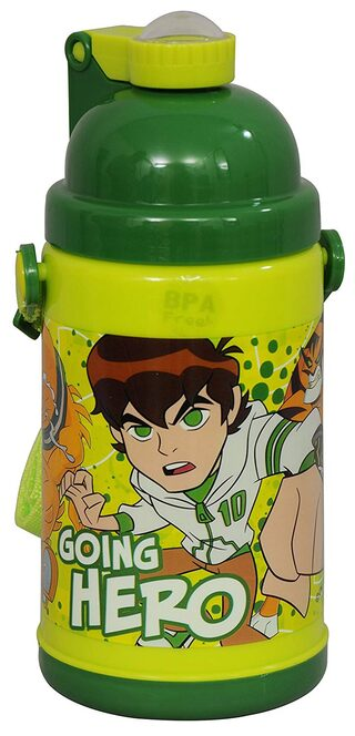 Ben 10 Insulated Push Button Pp Sipper Bottle / Water Bottle;350ml;Multi Color (multicolour)