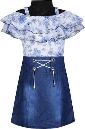 BENKILS Cute Fashion Baby Girls Blue Denim Party Wear Skirt Top One Piece