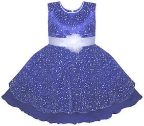 BENKILS Blue Silk Sleeveless Above Knee Princess Frock ( Pack of 1 )