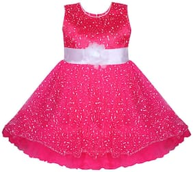 BENKILS Baby girl Silk Printed Princess frock - Pink