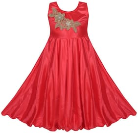 BENKILS Baby girl Satin Solid Princess frock - Red