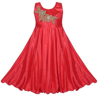 Buy Benkils Baby Girl Satin Solid Princess Frock Red Online At Low