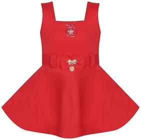 Benkils Cute Fashion Baby Girl's Soft Skuba Party Wear Red Frock Dress