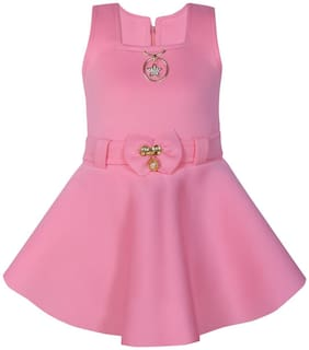 BENKILS Pink Cotton Blend Sleeveless Above Knee Princess Frock ( Pack of 1 )