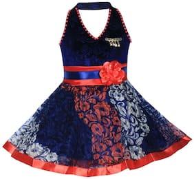 BENKILS Blue Velvet Sleeveless Knee Length Princess Frock ( Pack of 1 )