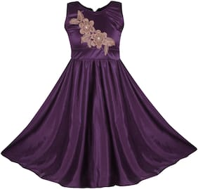 BENKILS Satin Embellished Sleeveless Gown - Purple