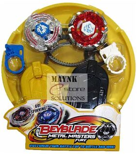Beyblade Stadium Battle with 2 Beyblades & Launcher Bey Blade Spinning Tops Kids Toy Indoor Masters Game Metal Fighters Fury 4D System