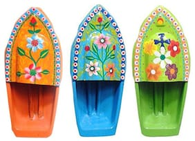 BG Bazzar Gali Set of 3 Hand Painted Flower Design Pop Pop Putt Putt Steam Boat Toy