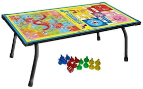 Bhoomi 2 in 1 Kids Board Game Table Ludo, Snake & Ladder Support Table and Multipurpose Table|| T-04