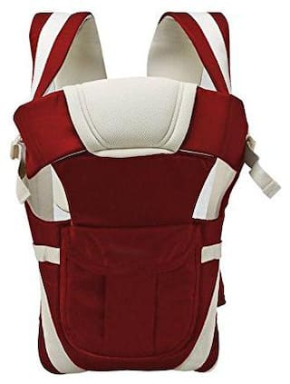 Bhoomi Adjustable Hands-Free || 4-in-1 Baby Carrier Bag || Carry Bag ||Front Carry Bag with Comfortable Head Support || Buckle Straps waist Belt || Red || BE-044
