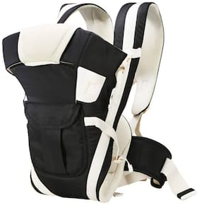 Bhoomi Adjustable Hands-Free 4-in-1 Baby Carrier Bag||Carry Bag||Front Carry Bag with Comfortable Head Support||Buckle Straps waist Belt||Black|BE-008