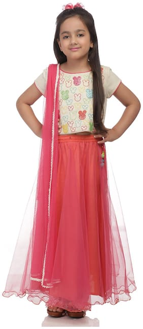 BIBA Girl's Blended Solid Short sleeves Kurti & salwar set - Multi