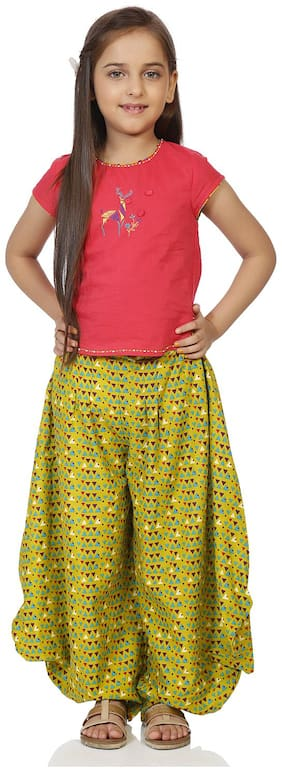 BIBA Girl's Cotton Printed Sleeveless Kurti & salwar set - Multi