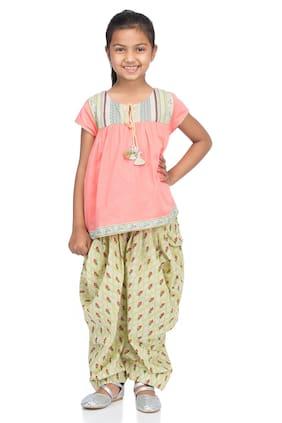 BIBA Girl's Cotton Printed Short sleeves Kurti & salwar set - Pink