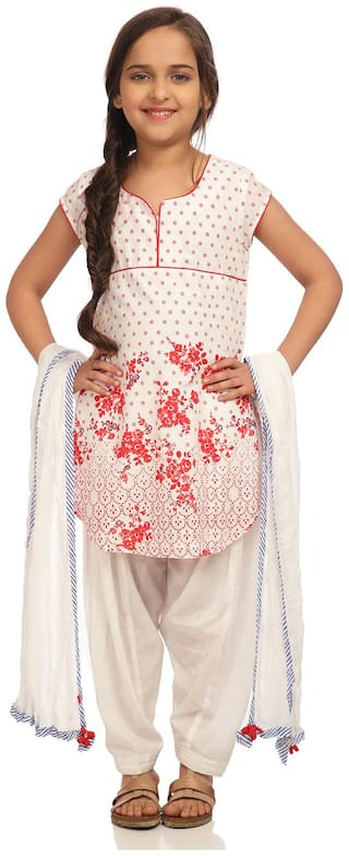 BIBA Girl's Cotton Printed Short sleeves Kurti & salwar set - White