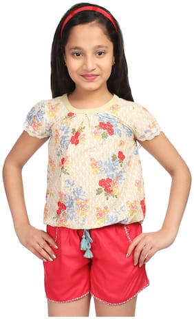 BIBA Girl Cotton Printed Top - Green