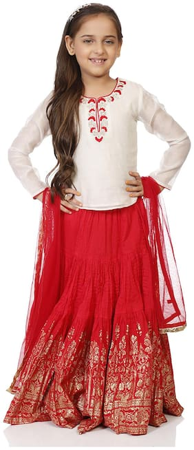 BIBA Off White And Red Poly Cotton Straight Lehenga Set