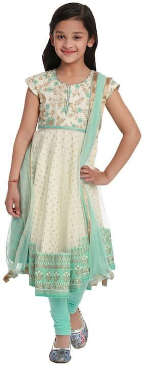 BIBA Girl's Cotton Printed Sleeveless Kurti & salwar set - Cream