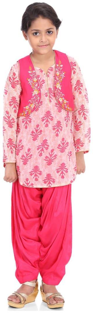 BIBA Girl's Blended Printed Full sleeves Kurti & salwar set - Pink