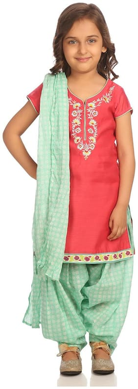 BIBA Girl's Poly cotton Solid 3/4th sleeves Kurti & salwar set - Pink