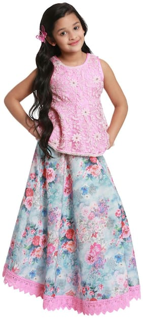 BIBA Girl's Nylon Printed Sleeveless Kurti & salwar set - Pink