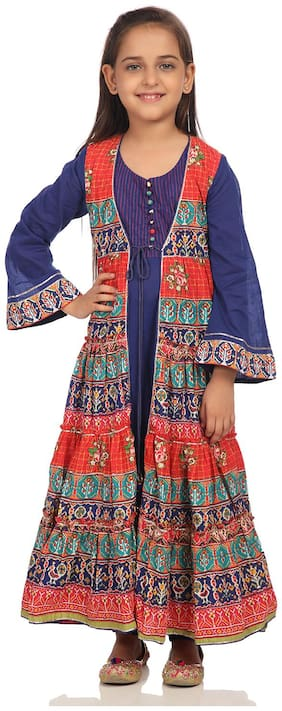 BIBA Girl's Cotton Printed Short sleeves Kurti & salwar set - Purple