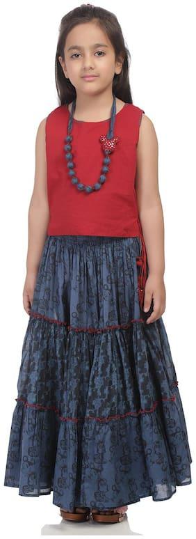 BIBA Girl's Cotton Printed Short sleeves Kurti & salwar set - Multi