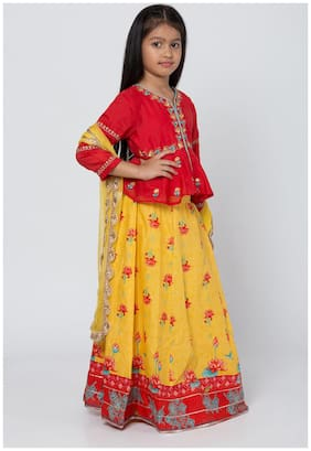 BIBA Red And Yellow Poly Cotton Front Open Suit Set With Dupatta