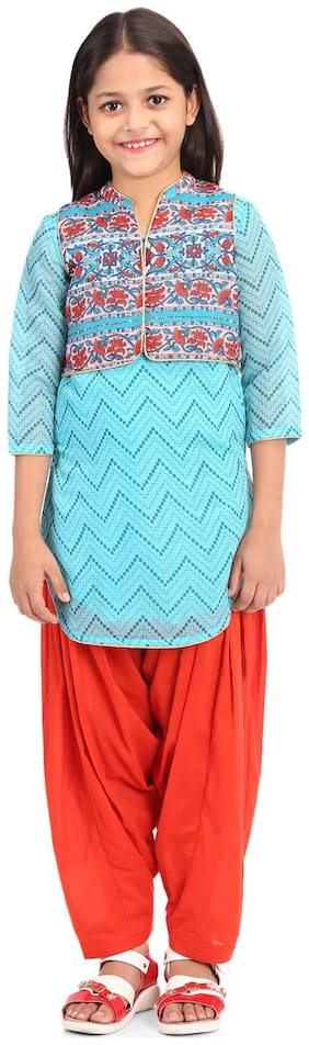 BIBA Girl's Polyester Printed 3/4th sleeves Kurti & salwar set - Blue