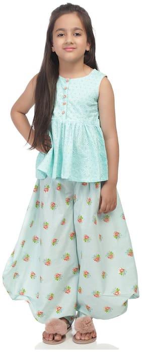 BIBA Girl's Cotton Printed Sleeveless Kurti & salwar set - Blue