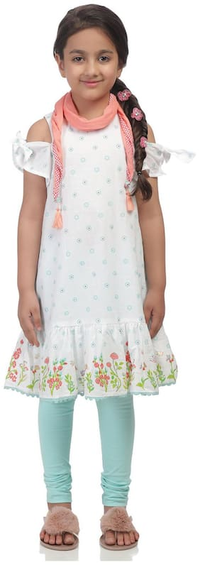 BIBA Girl's Cotton Printed Short sleeves Kurti & salwar set - White