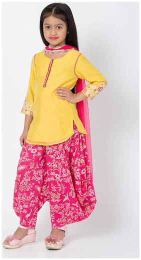 BIBA Yellow And Pink Art Silk Straight Suit Set With Dupatta