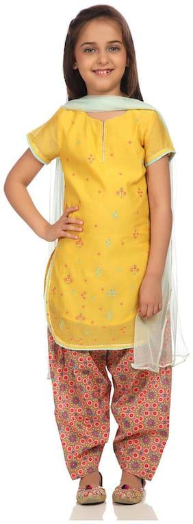 BIBA Girl's Blended Printed Short sleeves Kurti & salwar set - Yellow