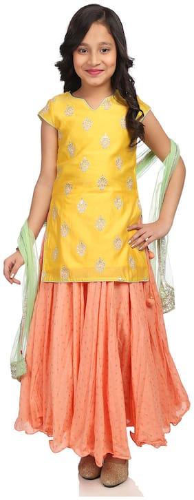 BIBA Girl's Blended Printed Sleeveless Kurti & salwar set - Yellow