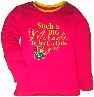 KiddoPanti Girl Cotton Printed T shirt - Pink