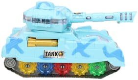 BIG MONKEY TOYS Musical Tank Toy for Kids;Bump N Go Action;3D Lights (Batteries Operated) (Blue) . (Blue)