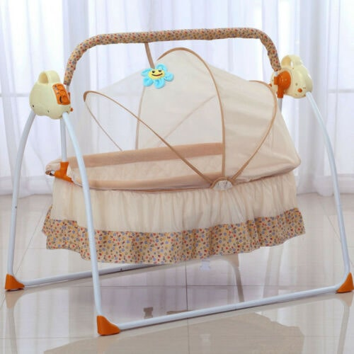 Baby Infant Toddler Sleeping Rocker Cot Electric Big Auto-Swing Bed Pink Cradle Space Safe Crib w//Mat