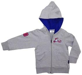KiddoPanti Boy Cotton Solid Sweatshirt - Grey