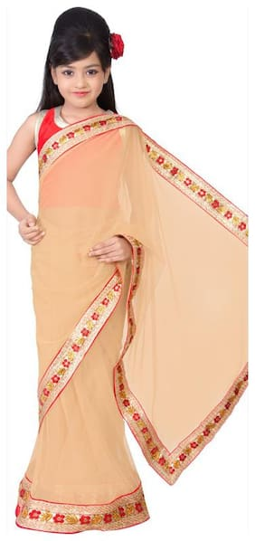 BINORI Girl's Georgette Embellished Sleeveless Saree - Beige