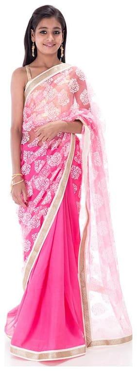 BINORI Girl's Georgette Embellished Sleeveless Saree - Pink