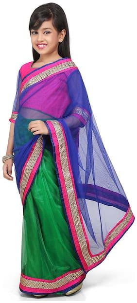 BINORI Girl's Net Embellished 3/4th sleeves Saree - Multi
