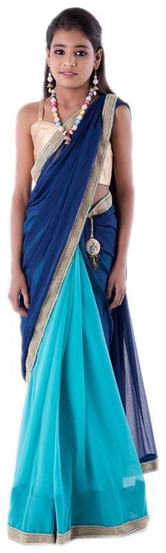 BINORI Girl's Georgette Embellished Sleeveless Saree - Blue