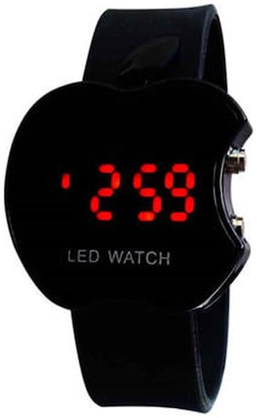 Black LED Digital Apple Shape Watch For Kids