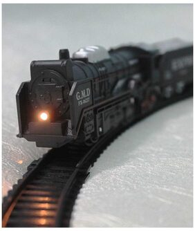 Black Train And Track Set With Led Head Light